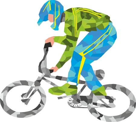 gray strip: The illustration of the athlete people by bicycle the gray bicycle a blue helmet a green jacket a yellow strip the cyclist goes green sneakers the sports bicycle the sports motorcyclist the man a baikier a sports driving