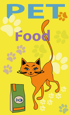 forage: Cat of red color a cat39s forage food for animals blue fish a long tail traces of paws house an animal green eyes yellow background illustration of a cat red animal Stock Photo