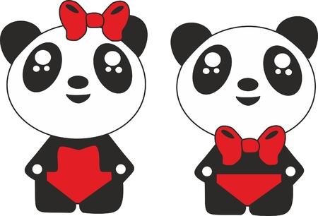 ojos negros: Panda del muchacho de un panda a los animales de la muchacha en trajes de ba�o ilustraciones de pandas un arco rojo ojos negros un animal en pantalones rojos los pandas elaborados
