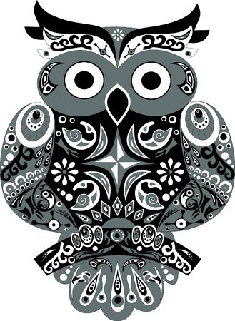 sits: Owl bird eagle owl animal eagle owl the bird a horned owl sit on a tree stylized a bird an owl with and ears a vector wings with drawing the owl sits on a branch an animal an eagle owl a flower on the head wings with a pattern an illustration of an owl ro
