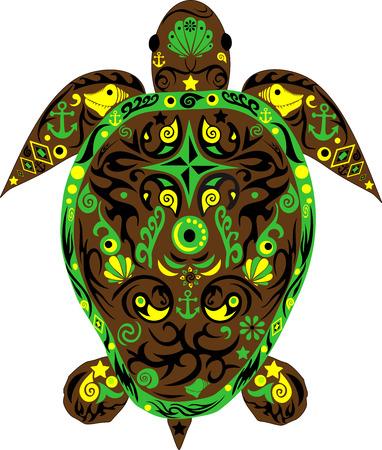 creeps: Turtle an animal a sea turtle an animal with drawing Illustration