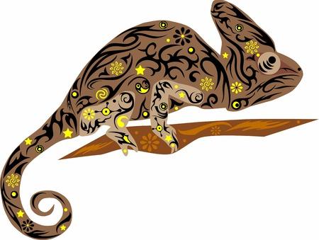 jaszczurka: Kameleon brązowy Ilustracja