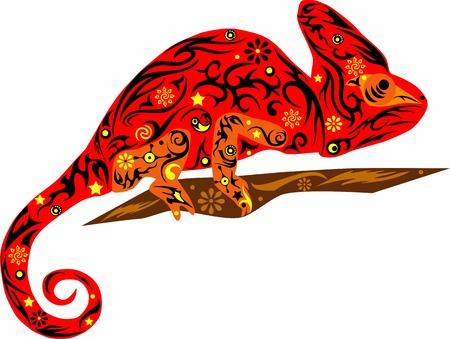 jaszczurka: Kameleon czerwony Ilustracja