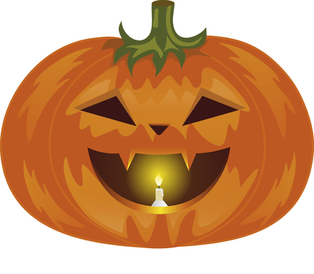 canines: pumpkin on Halloween, vegetable of orange color, a lamp from pumpkin, evil vegetable, a candle in a mouth, pumpkin with canines, a green fruit stem