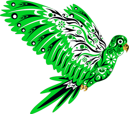 parrot tail: Parrot in flight, an illustration of a bird with drawing, wings with a pattern, Illustration