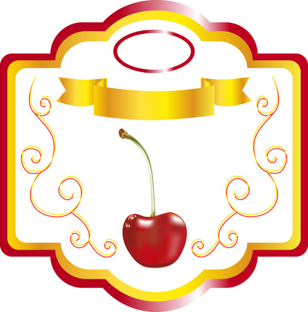 ripened: Label with cherry, sweet cherry for juice packing, a sticker on a bottle, a label for cherry cooking, a label with the image of cherry, a label for goods, a packing element, design of cherry packing, a decorative emblem with cherry Illustration