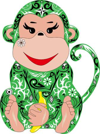 macaque: The monkey, an animal, a macaque, an illustration,