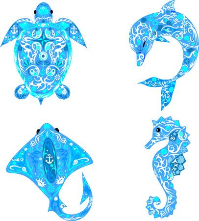 dibujos lineales: Habitantes del mar, animales ex�ticos, animales de aguas profundas, Vectores