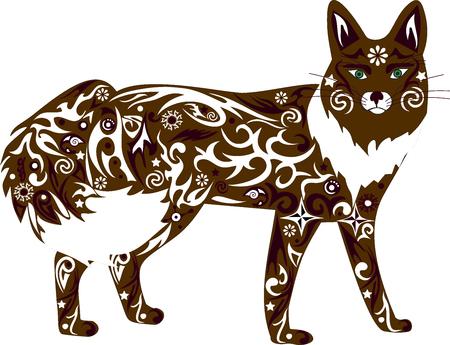 predator: The fox an illustration, an animal orange, a cunning predator, fauna of the wood, a wild female, a fox a vector, a wild mammal, costs vertically, white wool, Illustration