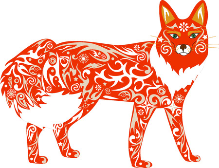 cunning: The fox an illustration, an animal orange, a cunning predator, fauna of the wood, a wild female, a fox a vector, a wild mammal, costs vertically, white wool, Illustration