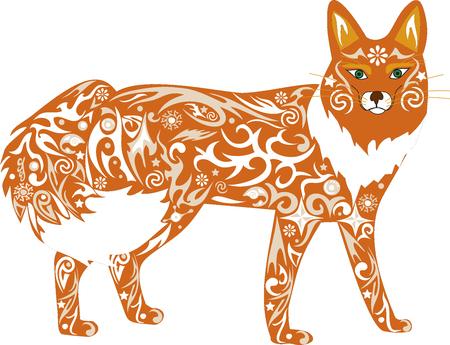 fauna: The fox an illustration, an animal orange, a cunning predator, fauna of the wood, a wild female, a fox a vector, a wild mammal, costs vertically, white wool, Illustration