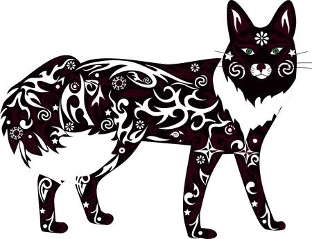 cunning: El zorro de ejemplo, una naranja animal, un depredador astuto, fauna de la madera, una mujer salvaje, un zorro un vector, un mam�fero salvaje, cuesta verticalmente, de lana blanca,