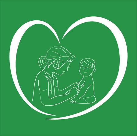 De verpleegster met een prik, arts van de kinderen, de behandeling van het kind, vaccinatie van kinderen, een icoon van de arts, de verpleegkundige met een spuit, de vrouw van de arts, geneeskunde met liefde,