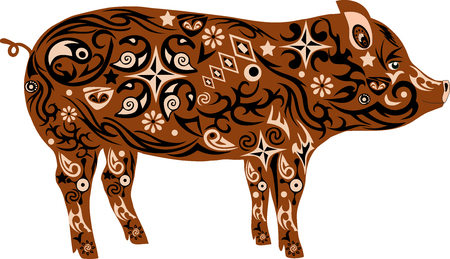 mammal: Pig with a pattern, an illustration of a mumps, an animal with drawing on a body, a mammal a pig, a farmer animal, house cattle Illustration