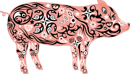 mumps: Pig with a pattern, an illustration of a mumps, an animal with drawing on a body, a mammal a pig, a farmer animal, house cattle Illustration