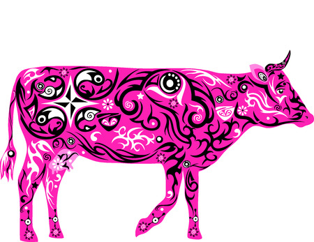 Cow With A Pattern Pet Cattle The Girl Drawing