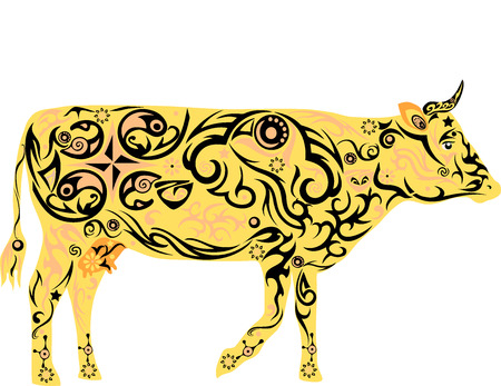 udder: Cow with a pattern, a pet, cattle, the girl with drawing, a mammal with an udder, the animal is painted, a cow with florets, cattle for milk, a creature with horns, beef from a cow,