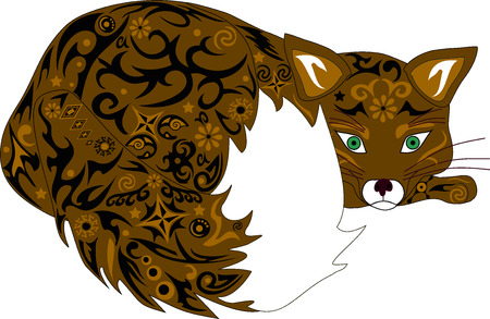 cunning: The fox an illustration, a cunning predator, fauna of the wood
