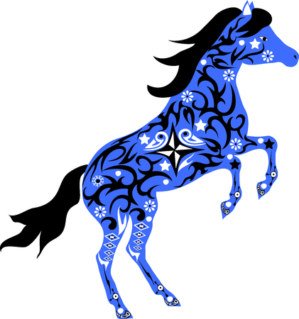 mare: The horse with drawing, a horse illustration, an animal with a pattern, an animal with flowers, a mare reared, the isolated horse Illustration