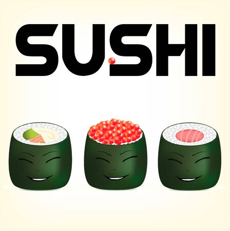 alga: sushi fish, traditional Japanese food, snack from fish, an illustration of salmon sushi, amusing sushi beaters, seafood in alga leaves, food by rice with fish, sushi with an amusing smile
