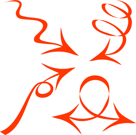 certain: Arrows of red color, direction sign, the movement in a certain direction to describe the circle, a decorative arrow