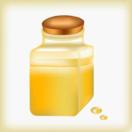 stopper: Oil small bottle, liquid of yellow color, drop golden, a stopper from a bottle, capacity with oil, essential oil, oily liquid, container with olive oil, medicine yellow, substance in glass