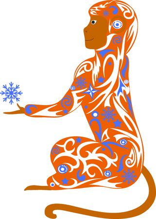 macaque: Symbol of year, a monkey with a snowflake, a macaque an illustration, the animal with a pattern from snowflakes, New Years an animal, holds a paw, a monkey a vector, a creature with design, a symbol of the Chinese new year, composition from curls, Illustration