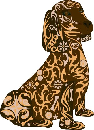 mammal: Spaniel a dog, an animal a dog, an animal with drawing, the house pet, breed of a dog a dachshund, a male with a pattern, stones on a dog, a mammal a dog, the isolated spaniel, a dog a vector