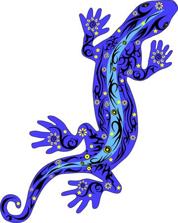 jaszczurka: Jaszczurka z wzorem na plecach, gad gecko z rysunku na ciele, kwiaty na gadów, iguana z linii na plecach, skóra zwierzęcia wzorkiem, dzikie jaszczurki porusza się do przodu
