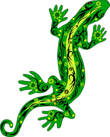 gecko: The lizard with a pattern, a reptile an iguana, creeps on top, a gecko with drawing, a skin with flowers, an animal a vector, the line on a back, the wild nature kowtowing a creature, exotic fauna, a little dragon, a long tail, an illustration of a pangol