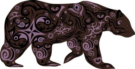 de beer met een tekening, een onhandige dier, een beer een illustratie, een roofdier uit het hout, een dier gaat, een schepsel zoogdier, een beer met een patroon, de wilde natuur, bos fauna