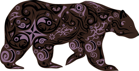 the bear with drawing, a clumsy animal, a bear an illustration, a predator from the wood, an animal goes, a mammal creature, a bear cub with a pattern, the wild nature, forest fauna