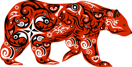 maldestro: l'orso con il disegno, un animale goffo, un orso un'illustrazione, un predatore dal legno, un animale va, una creatura mammifero, un cucciolo di orso con un modello, la natura selvaggia, fauna forestale Vettoriali