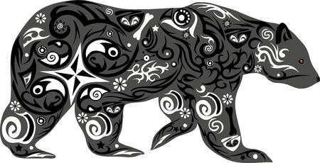 oso: el oso con el dibujo, un animal torpe, un oso una ilustración, un depredador de la madera, un animal va, una criatura mamífero, un cachorro de oso con un patrón, la naturaleza salvaje, fauna forestal