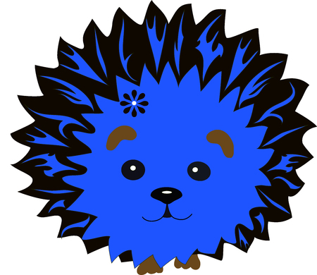 amuse: hedgehog with a pattern, an animal from the wood, the animation character, an animal with drawing, hedgehog needles from lines, a mammal with a flower, the wild nature, a wild creature, forest fauna,