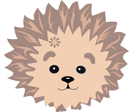 wild nature wood: hedgehog with a pattern, an animal from the wood, the animation character, an animal with drawing, hedgehog needles from lines, a mammal with a flower, the wild nature, a wild creature, forest fauna,