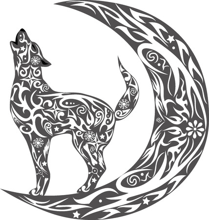 expense: The wolf howls, the wild animal, an animal costs during a month, the dog howls on the moon, an animal with a pattern, a creature with drawing, a flower on a body, the wild nature, the she-wolf howls on the growing moon, a dog with flowers, a predator with Illustration
