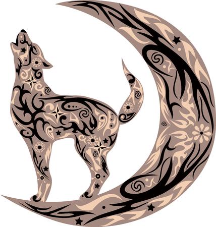 Il lupo urla, l'animale selvatico, un costi di animali nel corso di un mese, gli ululati del cane sulla luna, un animale con un modello, una creatura con disegno, un fiore su un corpo, la natura selvaggia, le urla lupa sul luna crescente, un cane con i fiori, un predatore con Archivio Fotografico - 46496032