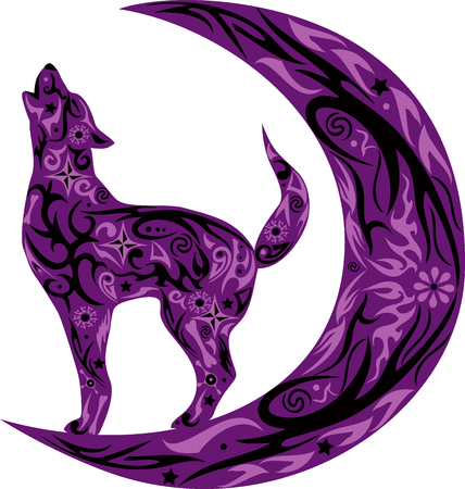 The wolf howls, the wild animal, an animal costs during a month, the dog howls on the moon, an animal with a pattern, a creature with drawing, a flower on a body, the wild nature, the she-wolf howls on the growing moon, a dog with flowers, a predator with Illustration