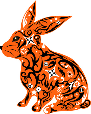 house pet: rabbit with a pattern, a hare with design, an animal with flowers, an animal with a pattern, a mammal wild, the house pet, a doe-rabbit with ears