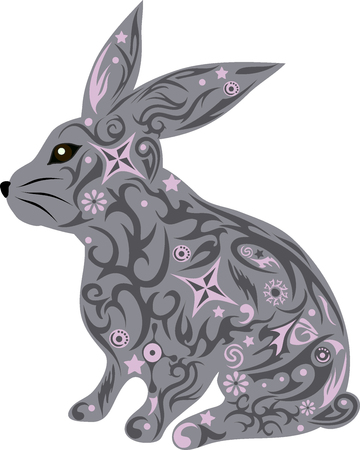 mammal: rabbit with a pattern, a hare with design, an animal with flowers, an animal with a pattern, a mammal wild, the house pet, a doe-rabbit with ears