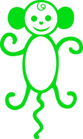 macaque: Symbol of new year, a monkey with a tail, a macaque an illustration, an animal drawn, an animal animation, monkey a vector, an amusing being,