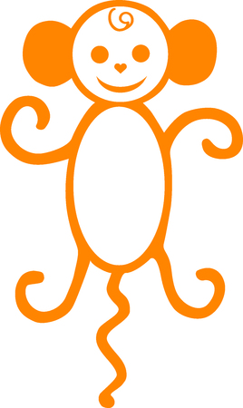 Symbol of new year, a monkey with a tail, a macaque an illustration, an animal drawn, an animal animation, monkey a vector, an amusing being