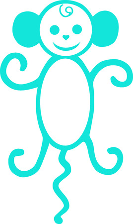 macaque: Symbol of new year, a monkey with a tail, a macaque an illustration, an animal drawn, an animal animation, monkey a vector, an amusing being