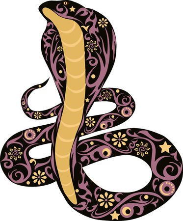 asp: snake with drawing, a cobra the wild animal kowtowing with a beautiful pattern, flora of the desert, asp with a tail, a cobra with the opened hood, the snake illustration, a poisonous viper, a dangerous creature, a reptile with design Illustration