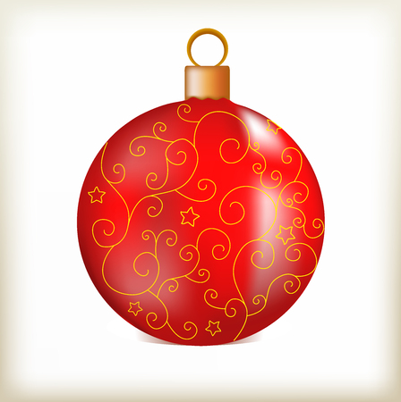 kernel: sphere red, a New Years toy, a gold pattern, a small asterisk, the round sphere, festive ornament, round object, Christmas subject, a glass kernel