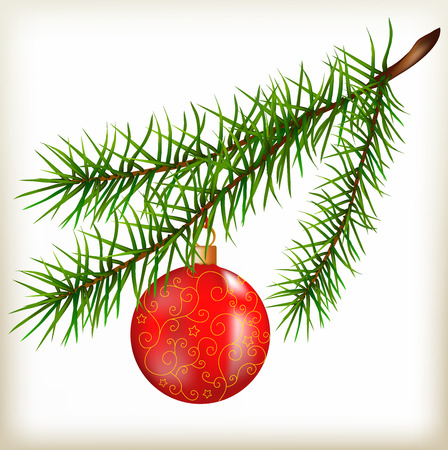 prickle: Fir-tree branch, fir paw, long needles, pine branch, Christmas decoration, evergreen plant, wildlife, illustration of a fir-tree branch, sphere red,