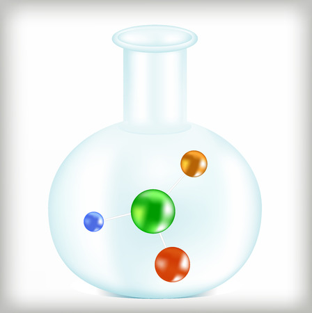 researches: Chemical element, atom in a flask, laboratory researches, chemical in a test tube, connection of molecules, a design element, a round sphere,