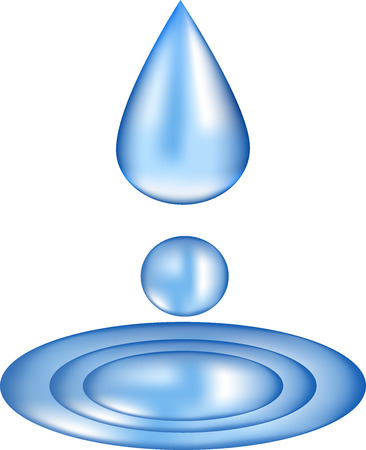 Water in a drop, blue liquid to pour substance, a moisture droplet, the source symbol, mineral water, collecting liquid, natural dew flows from above, Illustration