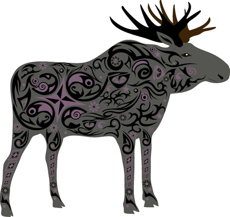 fauna: Elk with horns, an animal with a pattern, flowers on an animal, the forest inhabitant, a deer male, wildlife, the isolated elk, big horns, wild fauna Illustration